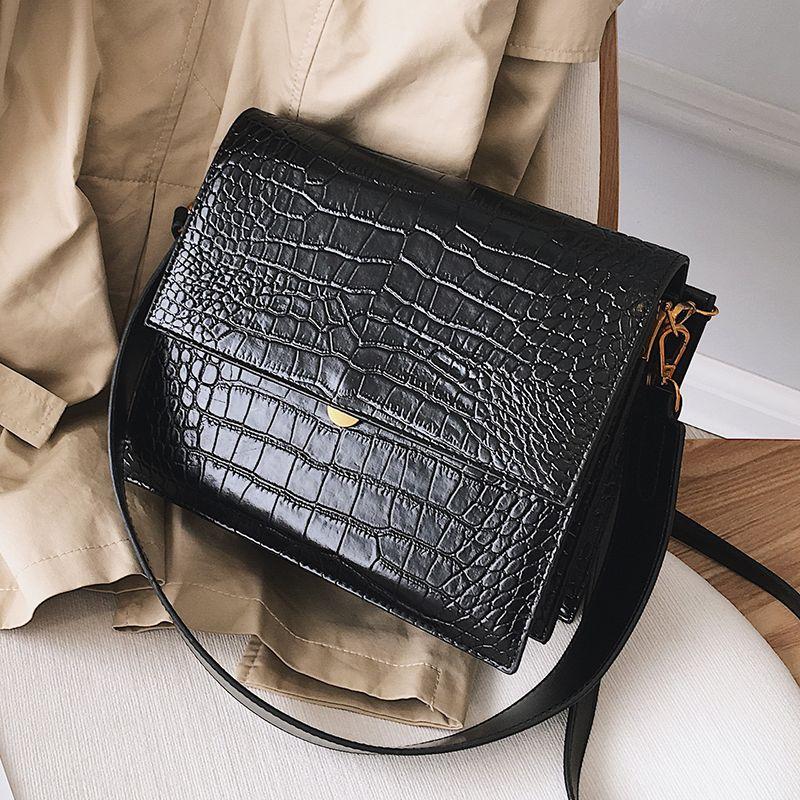 Mode européenne Simple sac à main de concepteur de femmes 2018 nouvelle qualité PU cuir femmes fourre-tout sac Alligator épaule sacs à bandoulière
