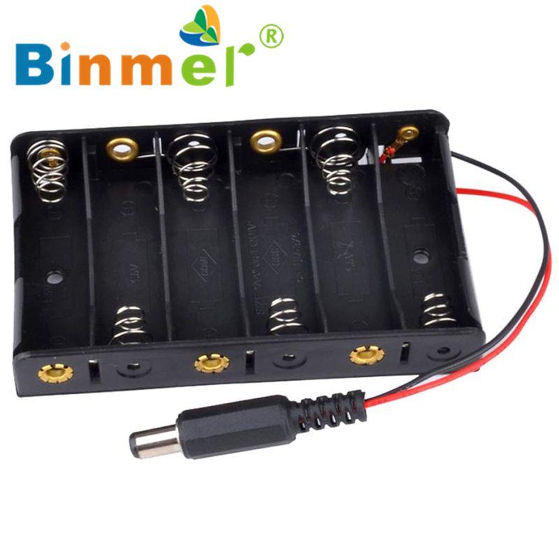 Neue 6 x AA Batterie Fall Lagerung Inhaber Mit DC2.1 Power Jack Für Arduino_KXL0523