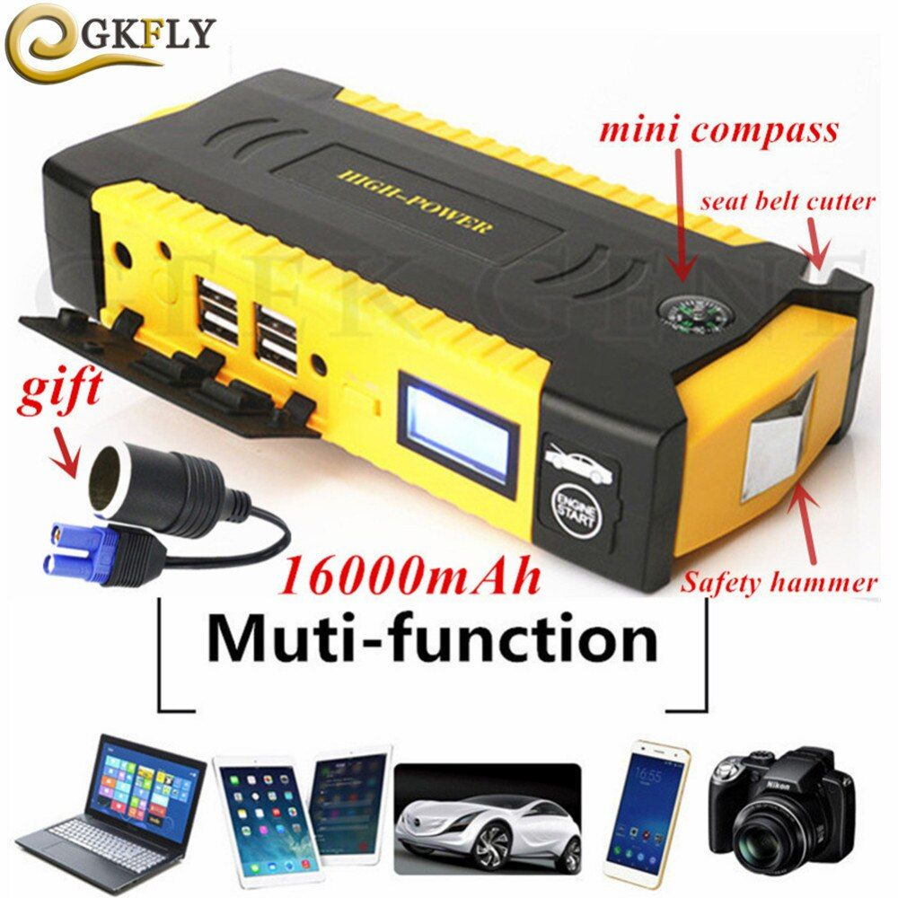 High Capacity 16000mAh Car Jump Starte 600A 12V Starting Device Portable Power Bank Car Starter For Car Battery Booster Charger