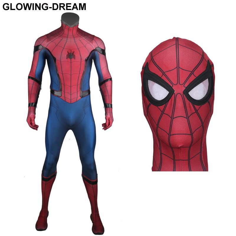 High Quality HomeComing Spiderman Cosplay Costume With Relief Spider For Man Tom Spiderman Costume For Man With U-zipper