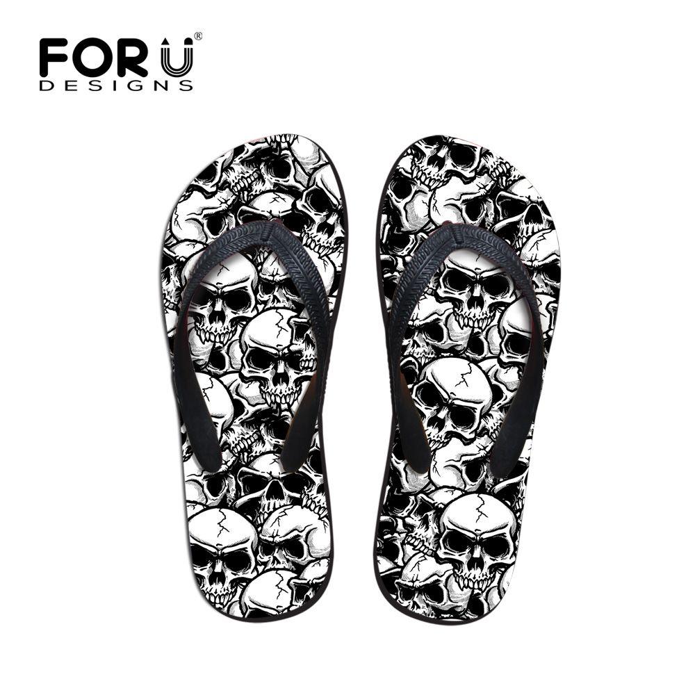 FORUDESIGNS Cool Punk crâne Zombie Design tongs pour hommes mode été plage eau caoutchouc pantoufles hommes appartements sandales chaussures