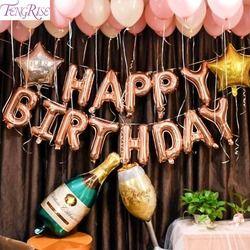 FENGRISE oro rosa partido Baloon 18th 21st 30th cumpleaños 18 21 30 40 50 fiesta de cumpleaños taza de champán globos