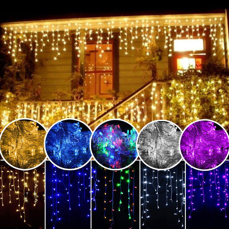 christmas lights outdoor decoration 4m droop 0.4-0.5-0.6m led curtain icicle string lights new year wedding party garland light