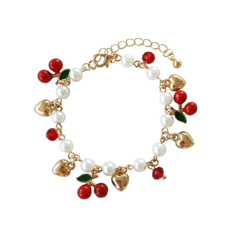 Fashion Jewelry Imitation Pearl Beads Chains Bracelet Golden Heart Love Red Cherry Fruit Charms Bracelets for Women Girls Gfits