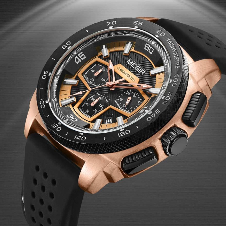 MEGIR Men's Casual Watches Silicone Band Waterproof Military Chronograph Sport Watch  Waterproof Wristwatches Men Clock Jewelry