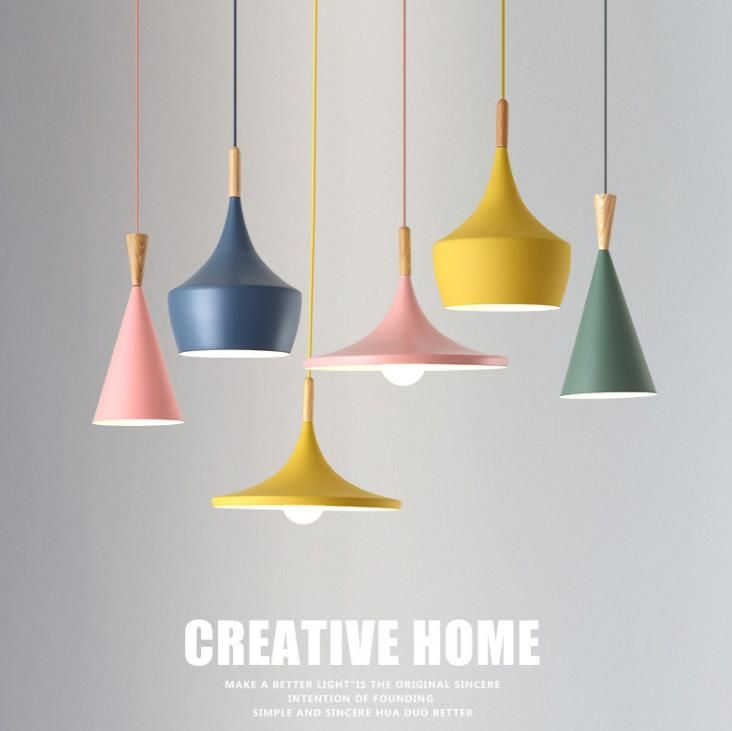 Nordic Pendant Lights Wood Aluminum Lampshade Industrial Lighting Loft Lamparas Colorful Pendant Lamp E27 Base Light Fixtures