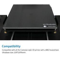 Anycubic Ultrabase 3D imprimante Plate-Forme Chauffée lit Construire Surface Plaque de Verre 220x220x5.5mm compatible pour 3D imprimante MK2 MK3