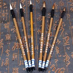 6 Pcs/ensemble Traditionnel Chinois Blanc Nuages Bambou Cheveux de Loup Écrit Brosse pour la Calligraphie Peinture Pratique Pinceaux à Écrire