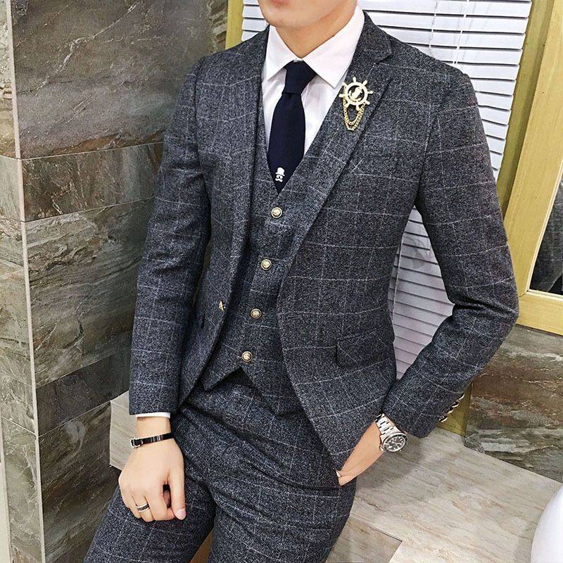 Vintage Plaid Suits 3 Piece Tweed Suits Mens Terno Dos Homens Grey Red Green Suits Mens Wedding Costume Terno Slim Fit Suits
