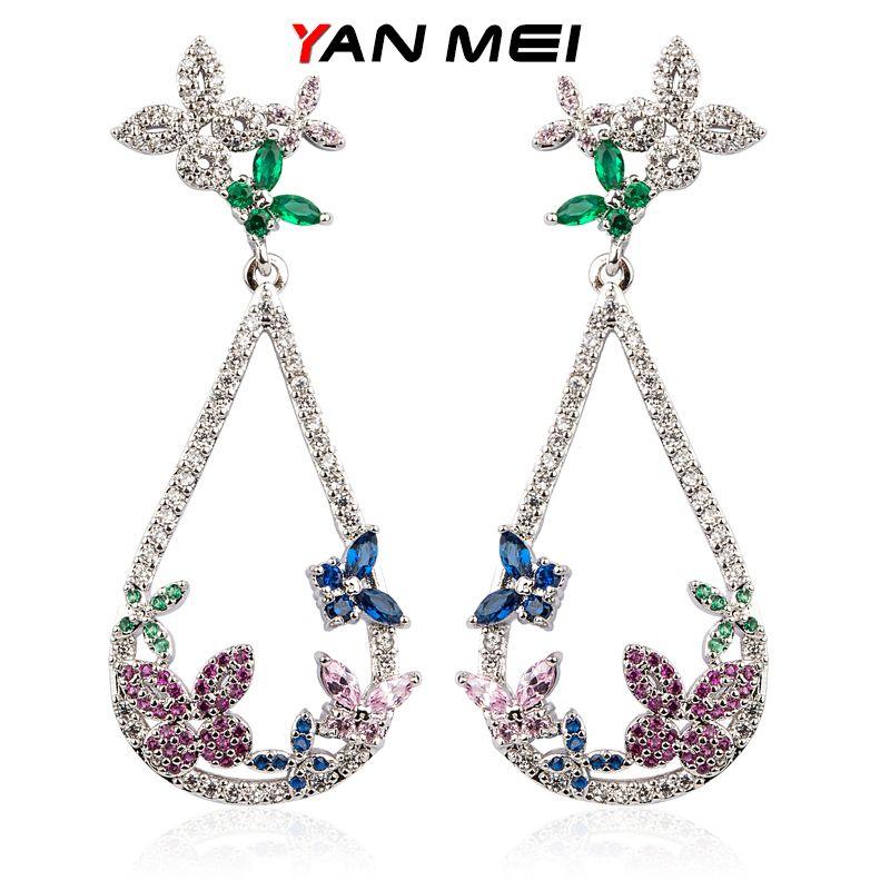 YAN MEI boucles d'oreilles papillon Bijoux en argent plaqué femelle zircon cubique longues boucles d'oreilles goutte d'eau accessoires pour femmes GLE6067