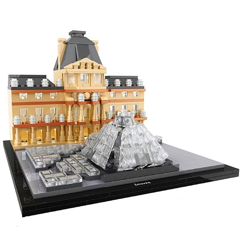 HSANHE Architecture Louvre Skyline Collection Building Blocks Kit City Bricks Classic Model Kids Toys Gift Compatible Legoings