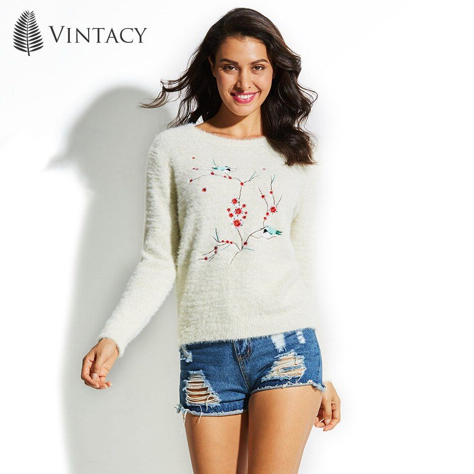 Vintacy Women's Sweater Round Neck Plant Long Sleeve Animal Floral Pullover 2017 Top Fashion Modern Female Girls Women's Sweater