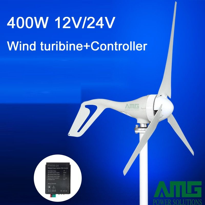 400W 12V/24V 3/5 blades horizontal wind turbine generator home use + BOOST/PWM waterproof wind charger controller
