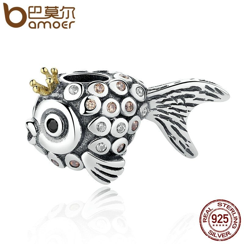 BAMOER Lovely Vintage 925 Sterling Silver Crown Fish Beads Charms fit Bracelets & Necklaces DIY Accessories PSC038