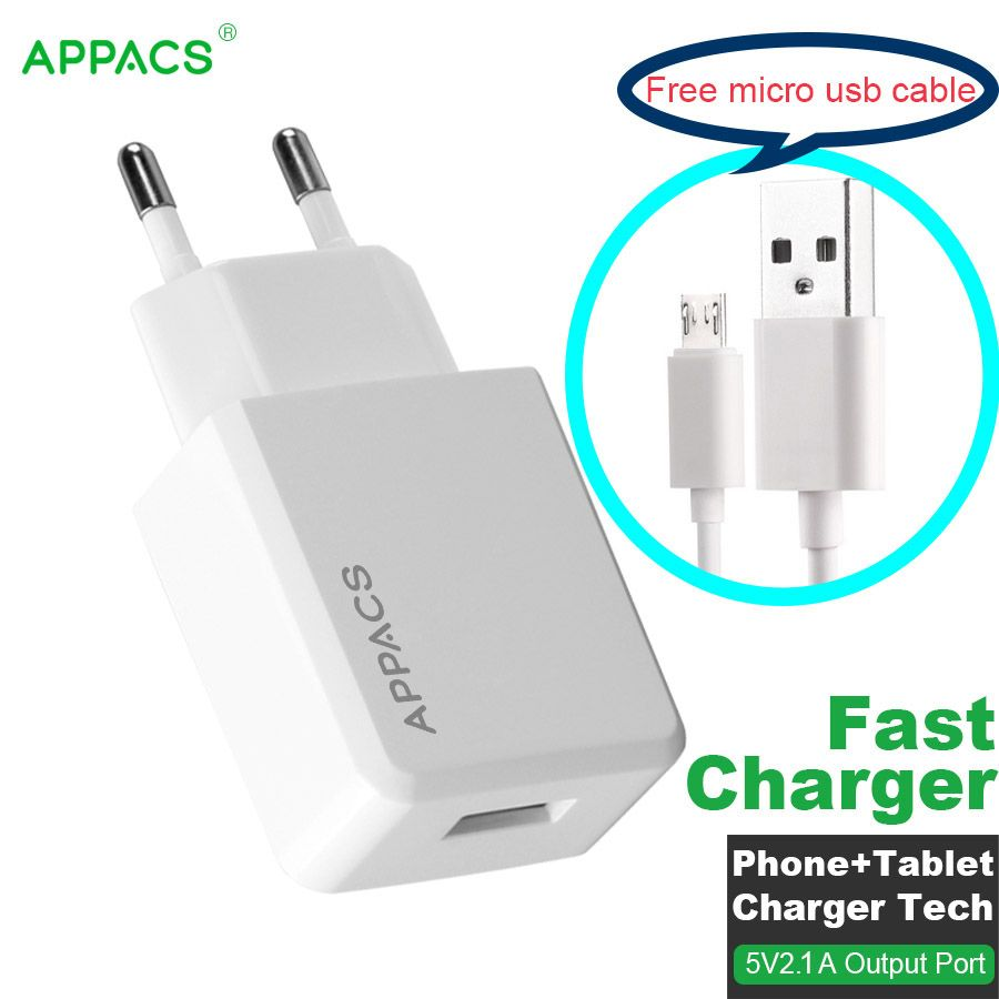 APPACS EU Plug USB Phone Charger 5V 2.1A Universal Portable Travel Fast Charging Adapter Quick Charger for iPhone Samsung Laptop