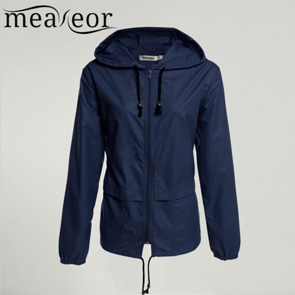 Meaneor thin trench coat for Women Windbreaker Hooded 2017 autumn winter Lightweight Waterproof Sun protection casual Rain coat