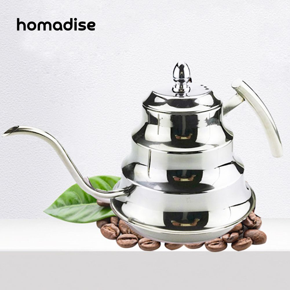 Homadise Handmade Stainless Steel Drip Kettle Coffee Drip Pot with Long Mouth Turkish Coffee Jug Teapots 1.2L 1200ML
