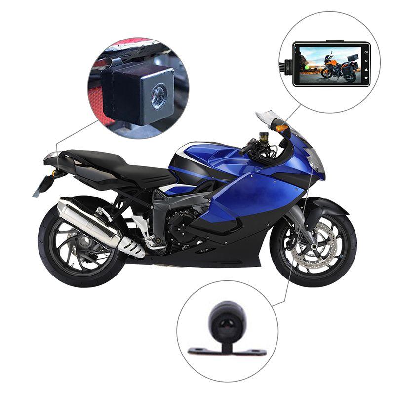 KY-MT18 Voiture Moto véhicule Caméra Auto DVR Moteur Dash Cam avec Double-piste Portable Avant Arrière caméscopes Enregistreur Noir