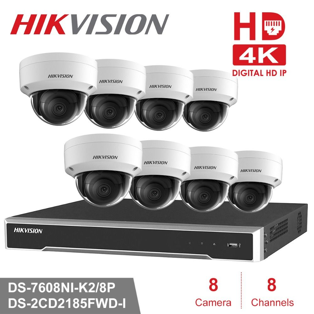 Hikvision CCTV System 8MP Kamera System 8 Kanal PoE NVR & 4 PoE IP Kameras Dome Outdoor HD Video Überwachung kit