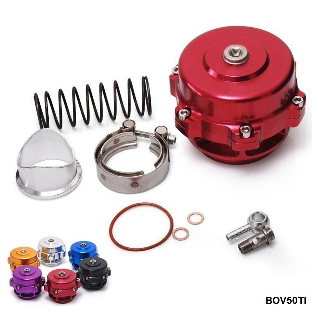 Universal Jdm 50mm V Band Blow Off Valve BOV Q Typer w/ Weld On Aluminum Flange with logo  EP-BOV50TI
