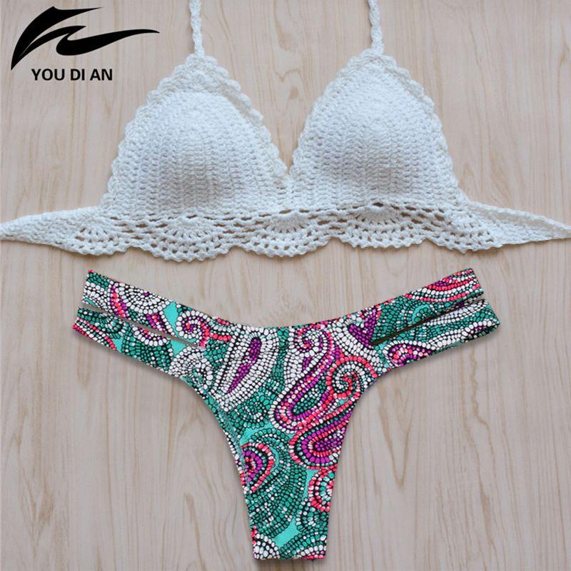 Bikini 2018 New Vintage Maillots De Bain Femmes Sexy Crochet Bikini Maillot de Bain À La Main Tricoté Maillot de bain Maillot de Bain maillot de bain