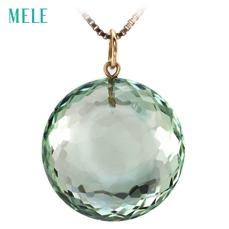 Natural green crystal real 18K yellow gold pendant, round 18mm*18mm, deep color and professional cutting, fashion women's jewels
