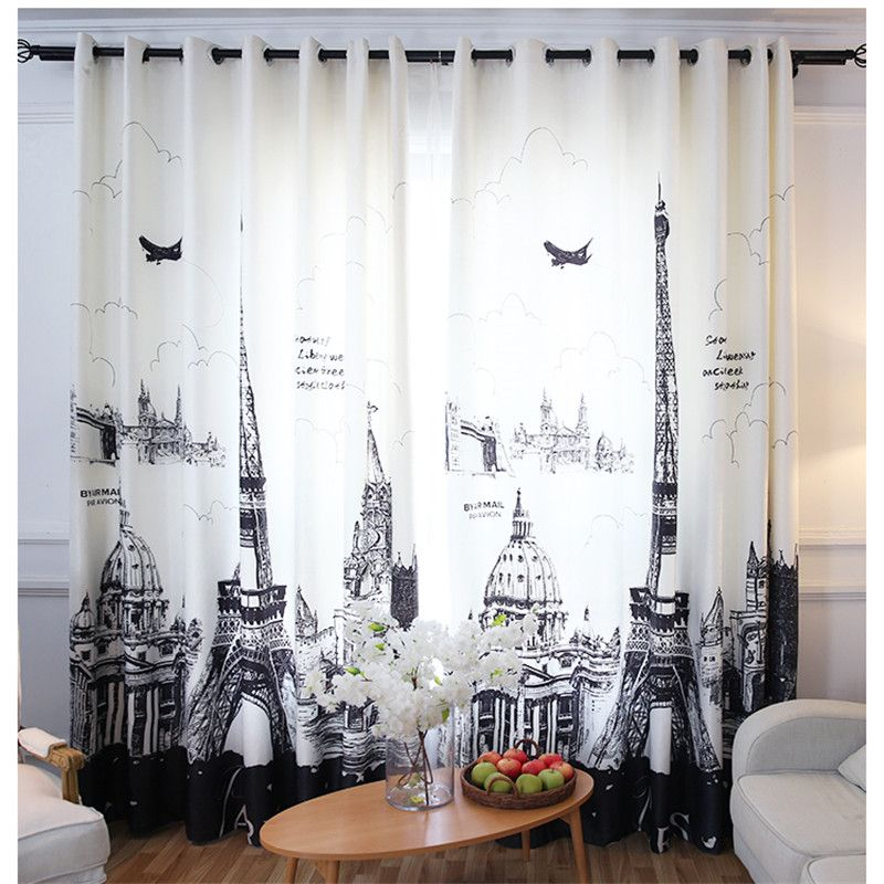 Rideau occultant en Polyester velours 3D rideaux occultants personnalisés pour rideaux de salon avec tour Eiffel
