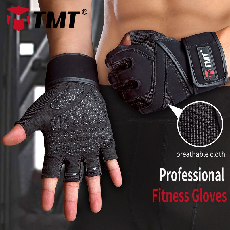 TMT gym weight lifting Gloves <font><b>Dumbbell</b></font> Weightlifting Fitness Exercise Non-Slip Breathable Half Finger sports Training Gloves