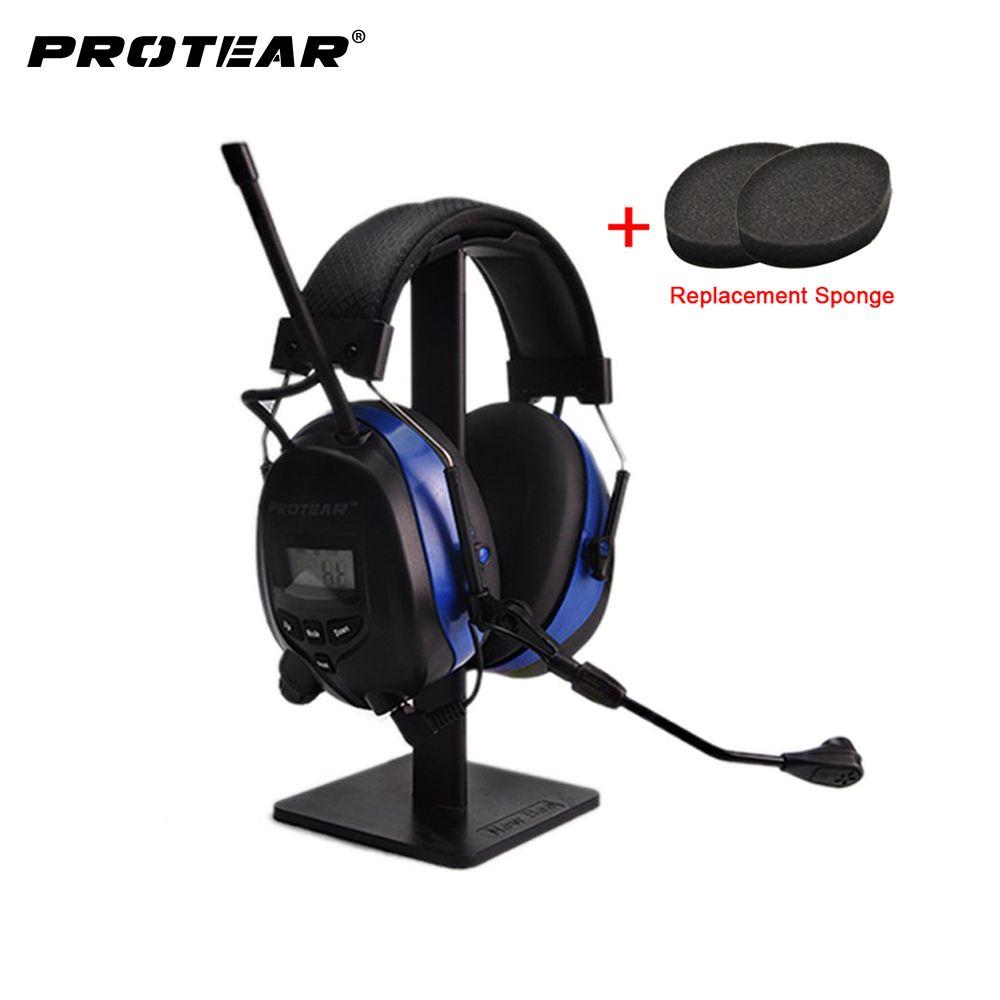 Protear NRR 25dB Bluetooth 4,3 Hören Protector mit Mikrofon Ohr Defender Gehörschutz mit AM/FM Tuner