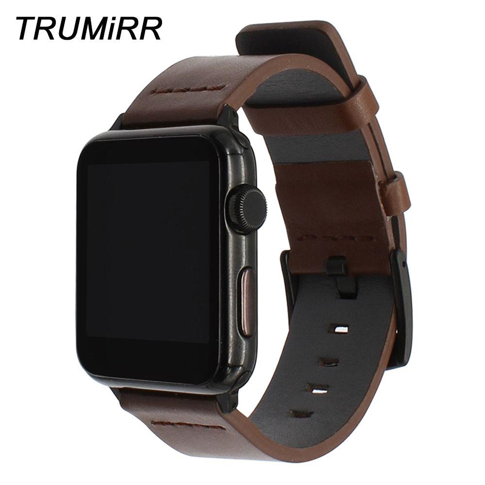 Bracelet en cuir huileux italien pour montre iWatch Apple 38mm 40mm 42mm 44mm série 5 4 3 2 1 Bracelet de montre en acier fermoir Bracelet
