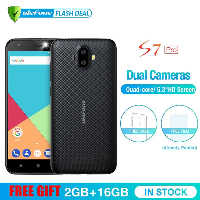 Ulefone S7 Pro 2 GB RAM + 16 GB ROM Double Caméra Mobile Téléphone 5.0 pouces HD MTK6580 Quad Core android 7.0 13MP Cam 3G WCDMA Téléphone Portable