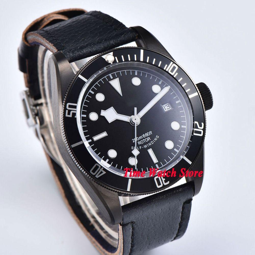 CORGEUT 41mm men's watch sapphire glass PVD coated case black dial luminous MIYOTA Automatic wrist watch men cor101