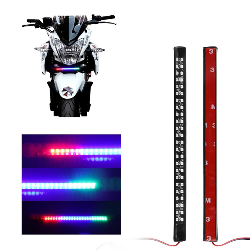 9'' 48LEDs Motorcycle Decorative Flexible LED Strip 3528 SMD Red Blue Green Color Change Tail Brake Stop Lamp Flashing Light