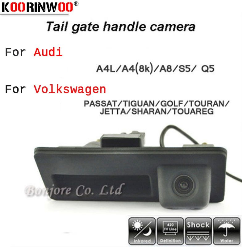 Koorinwoo HD CCD Car Runk Handle Track Parking Rearview Backup Camera for Audi/VW/Passat/Tiguan/Golf/Touran/Jetta/Sharan/Touareg