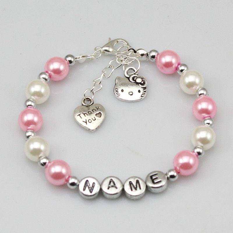 Детское имя индивидуальный подарок на день рождения для девочки Шарм браслет кошка розовый и белый