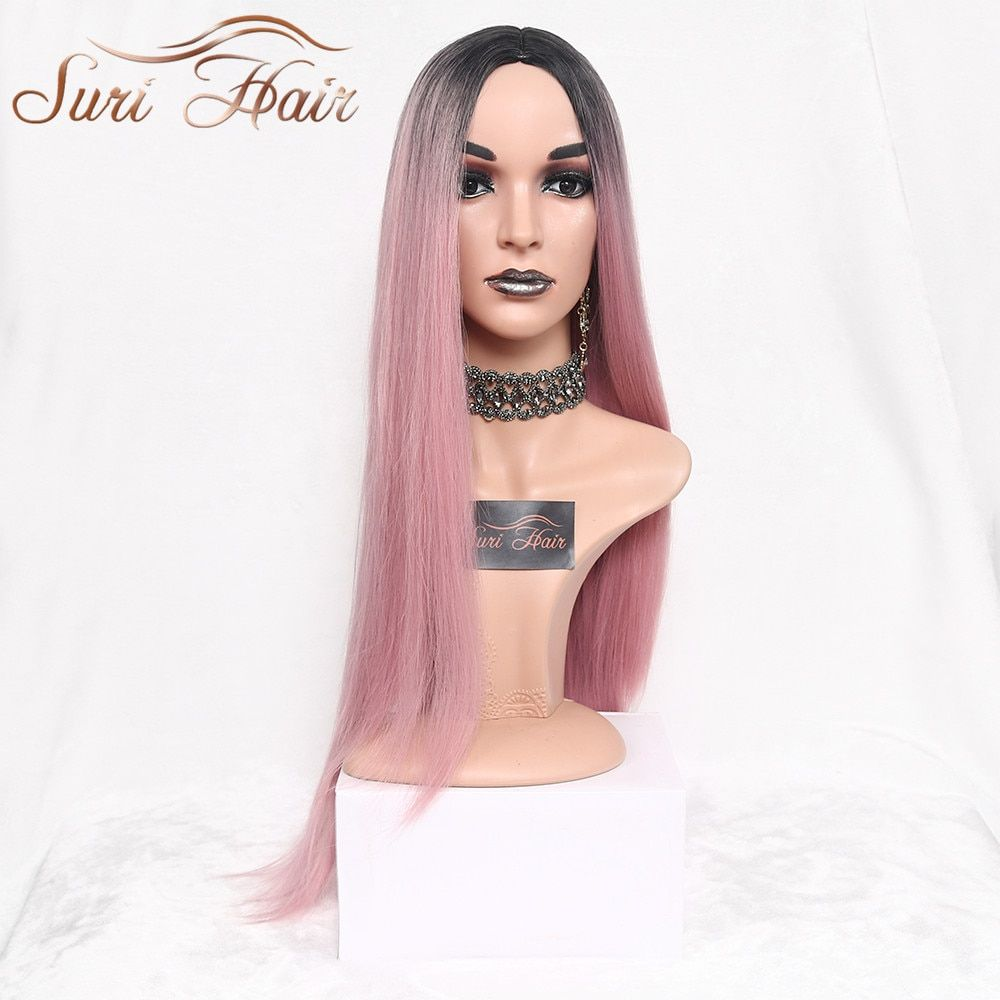 Suri Hair Long Straight Ombre Pink Heat <font><b>Resistant</b></font> Synthetic Two Tone Wigs For Women 30 inch Black Brown Blue hairpiece 7 colors