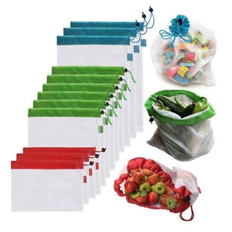 12 pièces maille réutilisable produire des sacs lavables sacs écologiques sacs à provisions pour l'épicerie stockage fruits légumes jouets