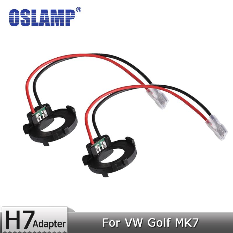 Oslamp For VW Golf MK7 Led H7 Headlight Bulbs Black Plastic Adapter Holders Car Styling Accessories H7 Lamps Adapter Base 2pcs