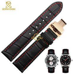 Kulit asli gelang jam menonton band, Hitam merah dijahit pergelangan tangan tali jam, Mens gelang kulit, 1819 20 21 22 23 24 mm