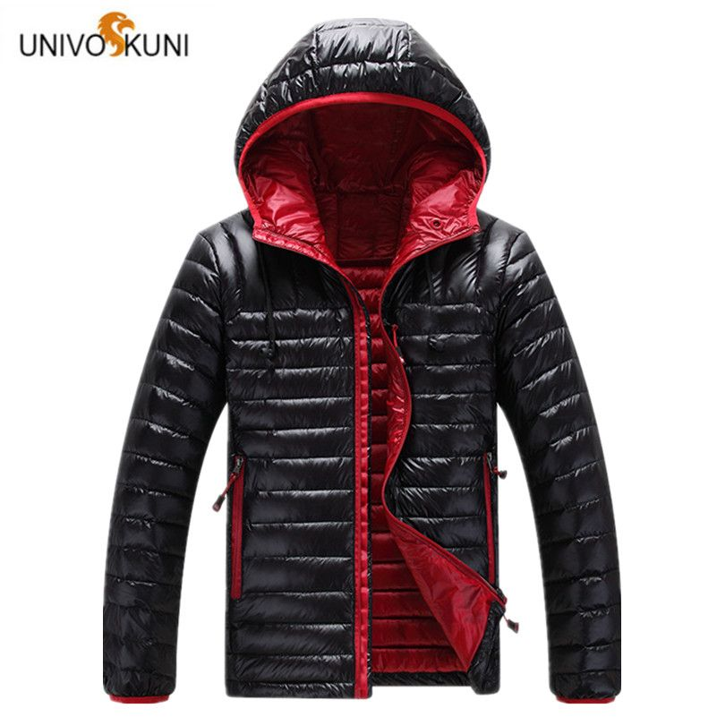 UNIVOS KUNI Casual Ultralight Men White Duck Down Jacket 2017 Autumn Winter Men Slim Hooded Headphones Down Jacket Overcoat O173