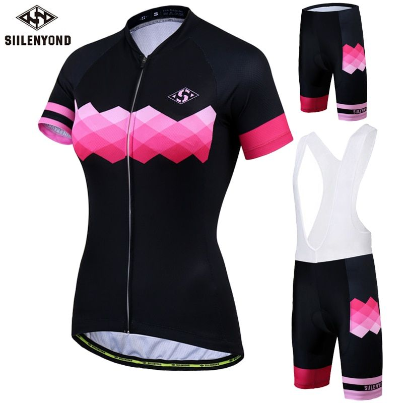 SIILENYOND Women's Cycling Jersey Quick Dry Cycling Clothing Mountain Bike Short Sleeves Jersey Sets Breathable Maillot Ciclismo