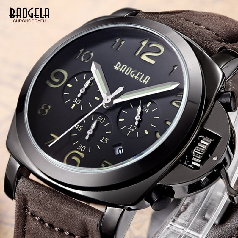 Baogela Mens Brown Leather Strap <font><b>Chronograph</b></font> Luminous 24 Hours Date Indicator Quartz Wrist Watches