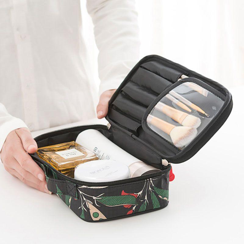 WULEKUE Portátil Kit de Viaje de Poliéster Resistente Al Agua Bolsas de Aseo Impresión Mujeres Bolsa Pequeña Bolsa de Cosméticos de Maquillaje Embalaje Organización