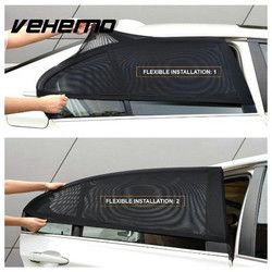 Vehemo 2 Pcs Universal Mobil Dapat Sisi Belakang Jendela UV Perlindungan Perisai Sun Shade Visor Cover Hitam Melindungi Aksesoris