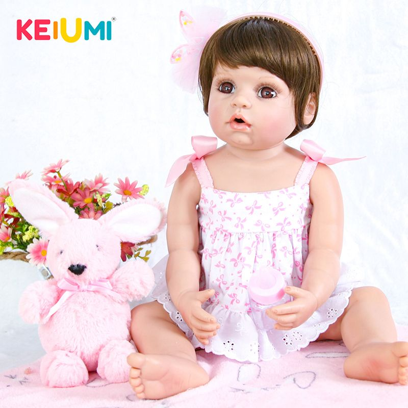22 Inch Lifelike Reborn Baby Doll 55cm Silicone Whole Body Alive Princess Baby Doll Toy For Children's Day Gift Kid Bedtime Play