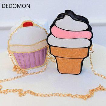 Nuevas mujeres lindas de la historieta helado Cupcake Mini PU cuero pequeño cadena embrague Crossbody bolsa de mensajero hombro de la muchacha