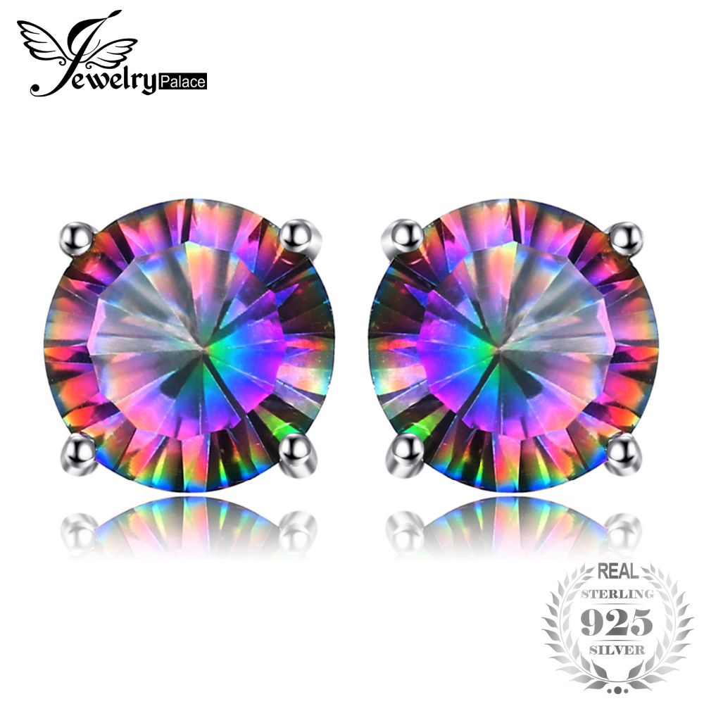 JewelryPalace Round 2ct Genuine Mystic Rainbow Mystical Topaz Earrings Stud Solid 925 Sterling Silver Fashion Fine Jewelry Women