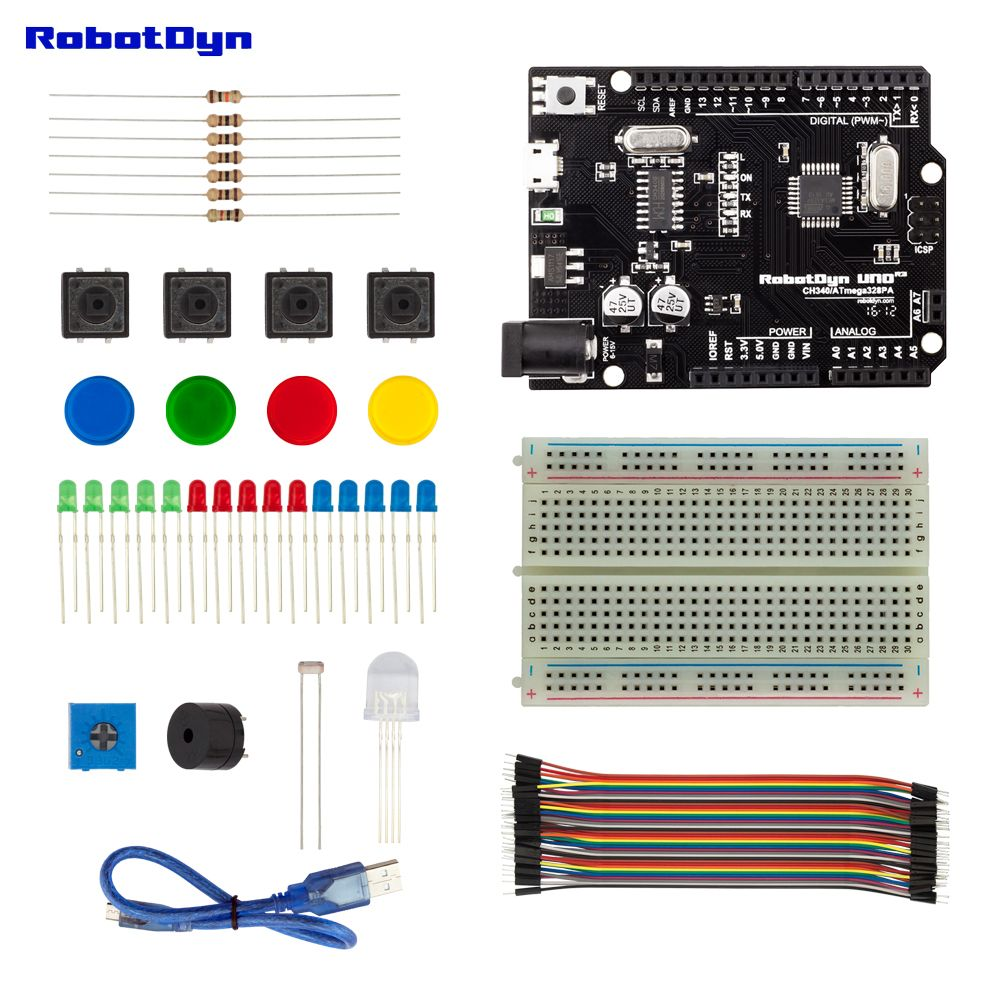 Starter Kit compatible for Arduino Uno R3 projects, with breadboard, jumper wires, color & RGB LED, button, buzzer, light sensor