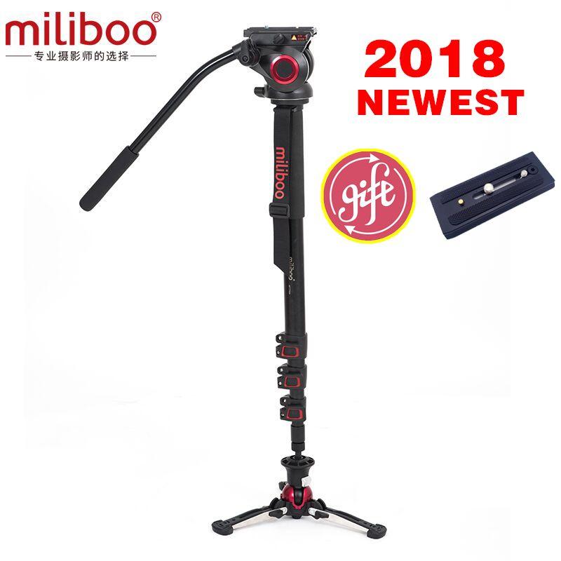 2018 NEUESTE miliboo MTT705BS Aluminium Tragbare Reise Kamera Einbeinstativ mit Hydraulische Kopf stativ Manfrotto