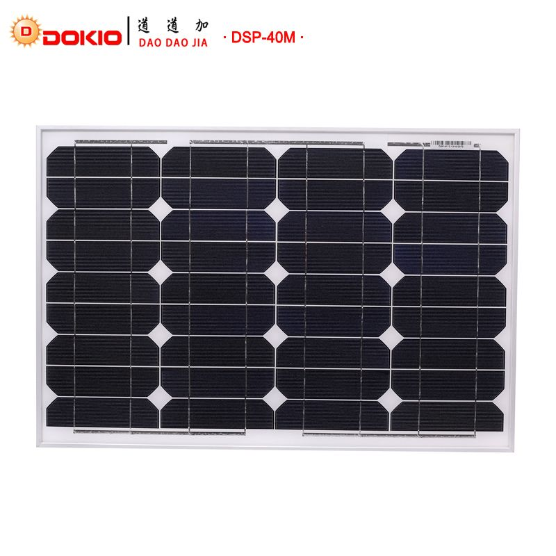 Dokio Marque Panneau Solaire 40 Watt 50 W Silicium Monocristallin Panneau Solaire Chine 18 V Taille Solaire batterie Chine # DSP-40M